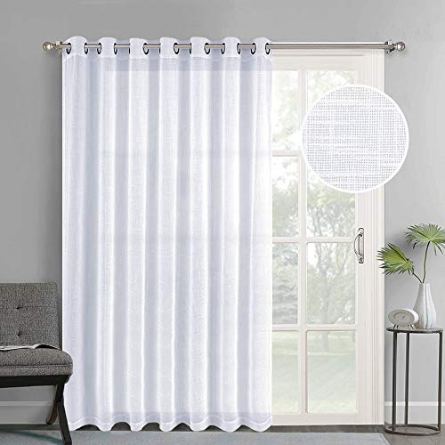 NICETOWN Linen-Like Patio Door Curtains - Extra Wide Grommet Top Semi Voile Drape Sheer Panels for Sliding Glass Door, White, W100 x L84, 1 Panel ()