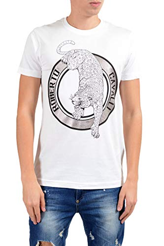 (ROBERTO CAVALLI Men's White Graphic Leopard Crewneck T-Shirt Size US XL IT 54)