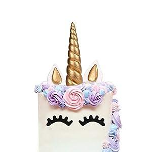 LUTER Cake Topper, Handmade Gold Unicorn Birthday Cake Topper, Reusable Unicorn Horn, Ears Eyelash Set, Unicorn Party Decoration Birthday Party, Baby Shower Wedding (Set of 5, 6 x 1.37in)