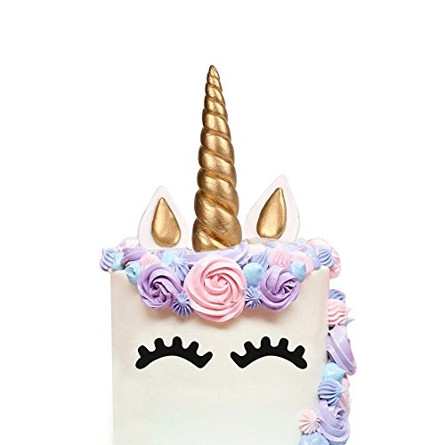 Price comparison product image LUTER Bigger Size Handmade Unicorn Birthday Cake Topper,  Gold Unicorn Horn,  Ears and Eyelash Set,  Unicorn Party Decoration for Birthday Party,  Baby Shower and Wedding (Set of 5,  7.9 x 1.37in)