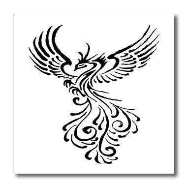 (3dRose Taiche - Vector Art - Phoenix - Rebirth of The Phoenix Tribal Tattoo Design - 10x10 Iron on Heat Transfer for White Material)