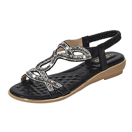 (Women's Bohemia Sandals Summer Crystal Peep Toe Beach T-Strap Flat Sandals Comfort Casual Shoes Black)