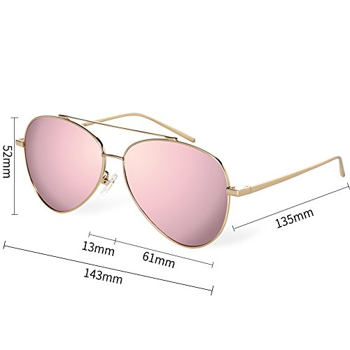 BLUEKIKI YEUX Aviator Polarized Sunglasses for Women Metal Frame Designer Eyeglasses(Rose - Frames Free Nickel Eyeglass