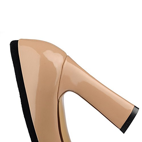 AmoonyFashion Heels On Sandals Toe Solid Peep Pull High Womens Sheepskin Apricot arawP