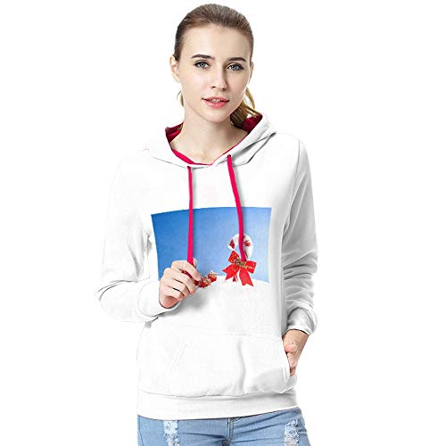 iYBUIA Christmas Women Long Sleeve Snowman Print T-Shirt Casual BlouseTops Autumn Winter Hooded Sweatshirt Blouse(U-White,CN:L/US:8) -