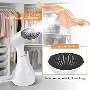 homeasy Clothes Steamer, 1500W Handheld Portable Garment Steamer for Home and Travel Steam Cleaner Fabric Steamer Wrinkle Remover 25s Fast Heat-up, 280ml White, Small (Updated Version)