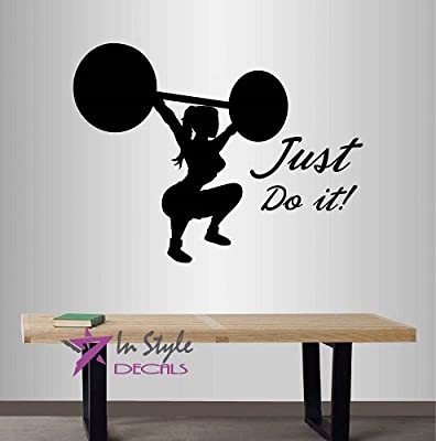 Wall Vinyl Decal Home Decor Art Sticker Just Do It! Motivation Quote Phrase Strong Girl Woman Weightlifting Powerlifting Sports People Gym Workout Room Removable Stylish Mural Unique Design