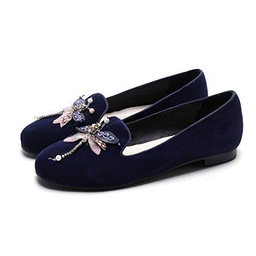 cómodos piel bajo F zapatos piel imitación Zapatos de para de oveja mujeres de de de de artesanales tacón diamantes azules negra oveja 08Ex8rwP