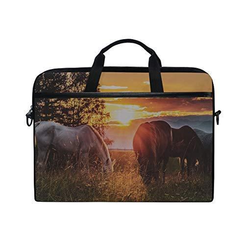 Rh Studio Laptop Bag Horses Sunset Paddock Laptop Shoulder Messenger Bag Case Sleeve for 14 Inch to 15.6 Inch with Adjustable Notebook Shoulder Strap