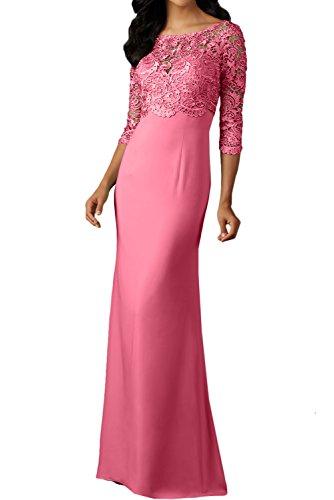 lang Spitzenkleider 3 Festkleid Ballkleid Arm Abendkleider Damen 4 Wassermelone Rundkragen Promkleid Ivydressing xwqTI7O0q
