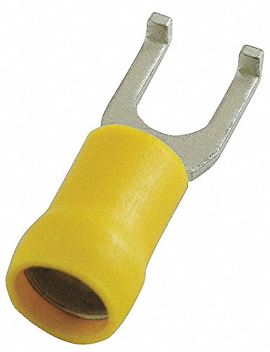 Power First - 24C952 - Fork Terminal, Yellow Vinyl, Butted Seam, 12 to 10 AWG, 50 PK
