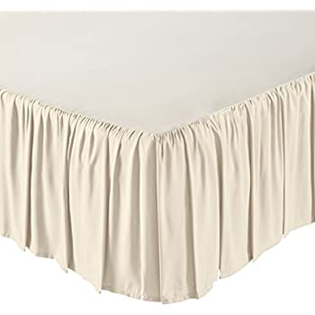 AmazonBasics Ruffled Bed Skirt, 16 Inch Skirt Length, King, Beige