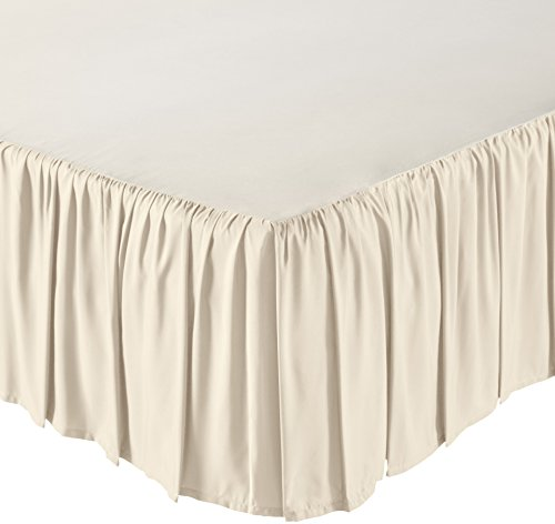 Bedskirt Cream - AmazonBasics Ruffled Bed Skirt - Queen, Beige
