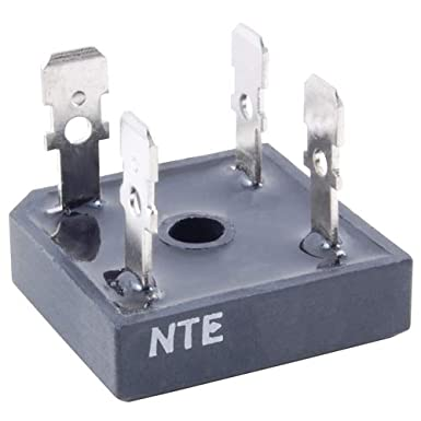 NTE Electronics NTE5327 Full Wave Single Phase Bridge Rectifier with Quick Connect Leads 25 Amps 800V Maximum Recurrent Peak Reverse Voltage