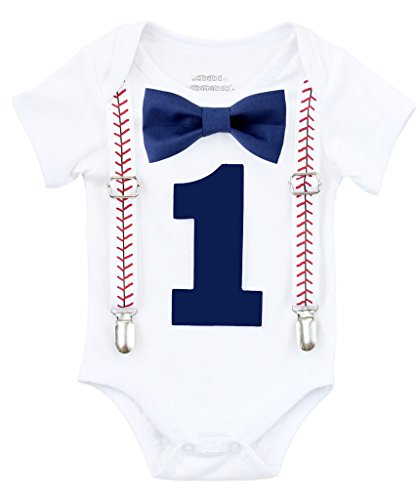 Noah's Boytique Baby Boy First Birthday Outfit Baseball Theme Party Shirt Navy Bow Navy Number One 18-24 Months -