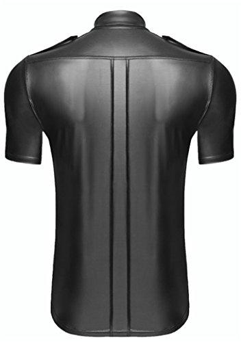 AT Herren Wetlook-Shirt H011 T-Shirt Männer Shirt mit Knopfleiste Hemd aus Wetlook-Material in schwarz von Noir Handmade Dessous, Gr.S bis 10XL