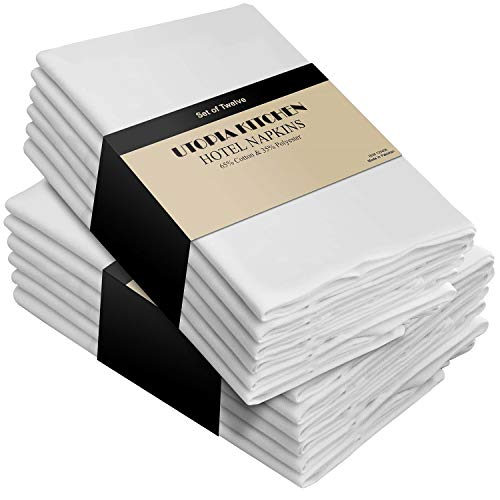 - Utopia Kitchen Cotton Dinner Napkins White - 12 Pack (18 inches x18 inches) Soft and Comfortable - Durable Hotel Quality - Ideal for Events and Regular Home Use