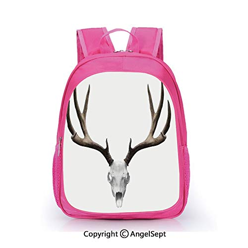 Children Schoolbag Cute Animal Cartoon Custom,A Deer Skull Skeleton Head Bone Halloween Weathered Hunter Collection Decorative,15.7inch,Fashion Lightweight School Backpack