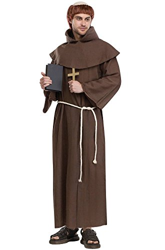 Fun World Costumes Men's Medieval Monk Costume, Brown, One Size Fits Up To 6ft. 200 lbs -