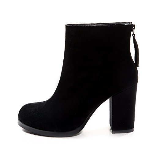 AmoonyFashion Womens Round-Toe Closed-Toe High-Heels Boots With Platform and Thread Black GZdrcWOox