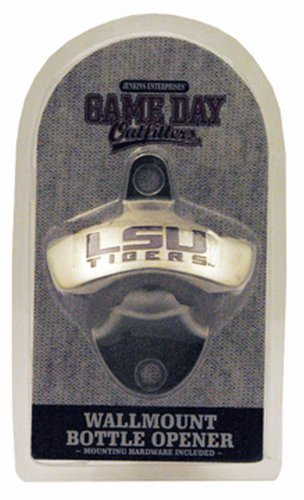 NCAA LSU Tigers Bottle Opener Metal Retro Wall Mount, Small, Metallic with Team Color