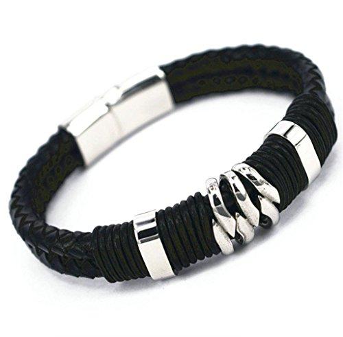 Epinki Mens 316L Stainless Steel Bracelet Double Row Braided Leather Black Bracelet