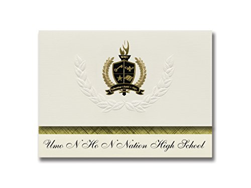Signature Announcements Umo N Ho N Nation High School (Macy, NE) Graduation Announcements, Presidential style, Basic package of 25 with Gold & Black Metallic Foil - Macys N