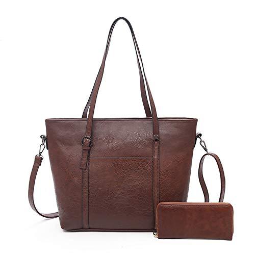 Large Capacity Shoulder Tote Bags bolsos With Wallet Leather Handbags,brown,Beautiful bag