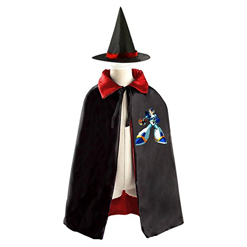 Mega Man Logo Kids Halloween Party Costume Cloak Wizard Witch Cape With Hat - Kids Megaman Costume