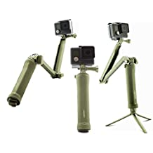 SublimeWare® - (Army Green) 3 Way Extension Pole Hand Grip Camera Mount for Gopro 3 Way Stick Hero2 Hero3 Hero3+ Hero4 HD Silver Session SJCam SJ4000 SJ5000 gopro hero 4 3 way