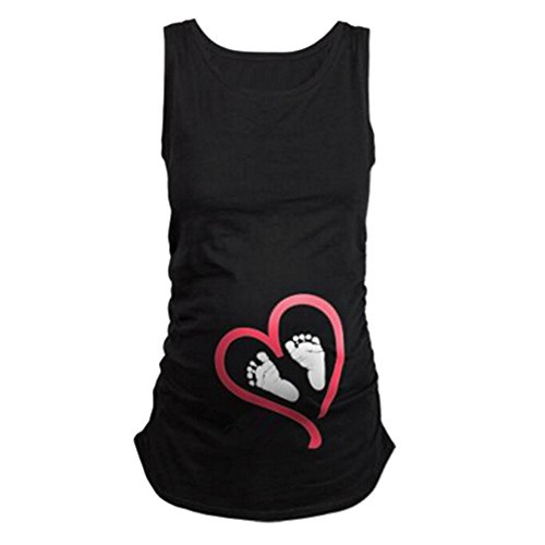 - Humor Pregnancy Tee Sleeveless Maternity Tank Tops Funny Pregnant Women T Shirts-Footprint 2,Black XXL