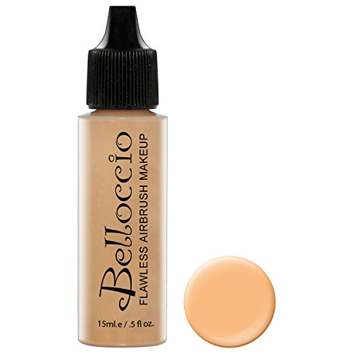 Belloccio's Professional Cosmetic Airbrush Makeup Foundation 1/2oz Bottle: Golden Tan- Medium Yellow Undertones
