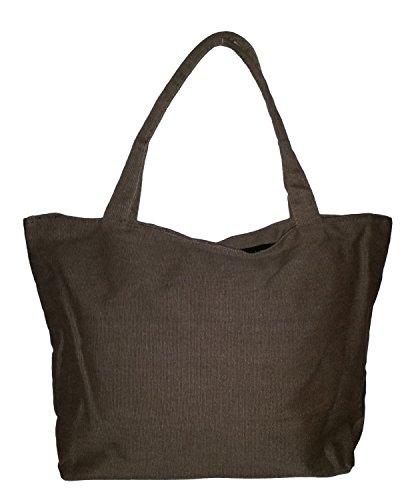 Custom Distressed Canvas Zipper Beach Bag Tote (Blank, Brown)