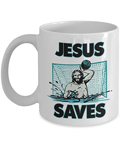 Water Polo Accessories - Jesus The Water Polo Goalie Saves Coffee & Tea Gift Mug Cup For A Christian Water Polo Fan Dad & Mom (11oz)