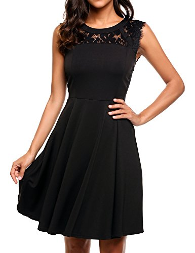 Beyove Women's A-Line Sleeveless Pleated Lace Cocktail Party Dress Black XXL