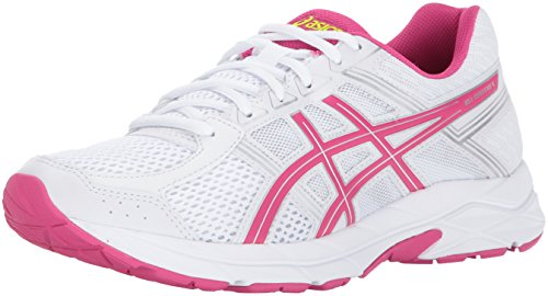 Pink And White Shoes (ASICS Women's Gel-Contend 4 Running-Shoes, White/Pink Peacock/Silver, 9 Medium US)