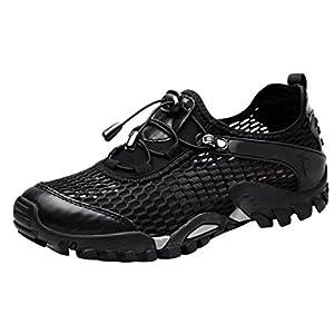 Louechy Men's Ponrea Mesh Hiking Shoes Water Shoes Breathable Outdoor Sneakers Walking Shoe 8302-43 Black