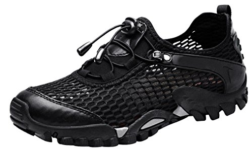 abc894c8ddc LOUECHY Men's Ponrea Mesh Hiking Shoes Breathable Water Shoes Trekking  Sandals Outdoor Sneakers 8302-42 Black