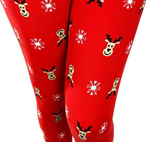 Just One Women's Printed Leggings Fair Isle Buttery Soft Comfortable (Red, M) ()