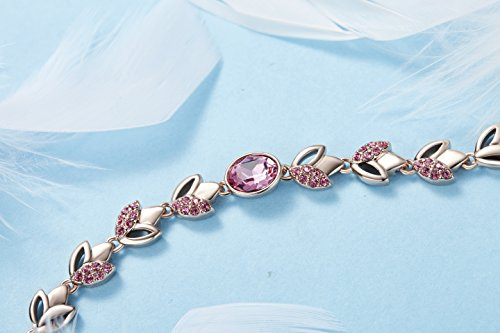 """Frola – Romantic""""Rose lover""""Made with SWAROVSKI Elements Crystal Bracelet Jewelry, Girl and Woman Fashion Gift (Rose)"""