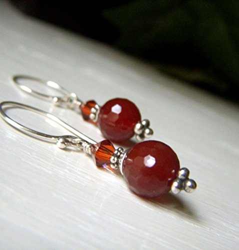Carnelian Agate Earrings - Sterling Silver Drop - Faceted Round Dangle - Short Rust Earrings - Orange Red Gemstone