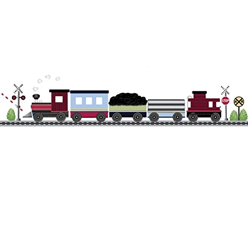 (Red Caboose Train Wall Decal with 15 ft Straight Railroad Track Matte Reusable Wall Stickers Col. 2)