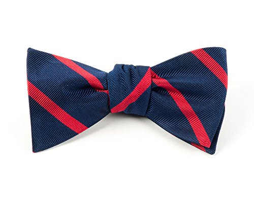 (The Tie Bar 100% Woven Silk Navy and Red Trad Striped Self-Tie Bow Tie)