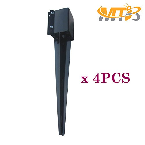 Fence Post Ground Spike Metal Black Powder Coated 24