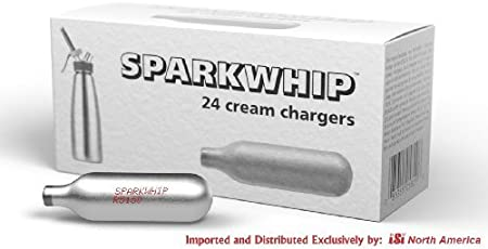 Silver iSi North America Spark Whip Cream Chargers Box of 24
