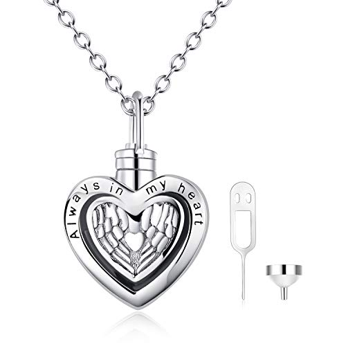 POPLYKE Angel Wings Memorial Urn Necklace for Human Ashes,Engraved Always in My Heart Sterling Silver Pendant Necklace for Women Girls Unisex