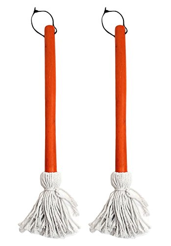 Basting Mop - Chef Craft Set of 2 BBQ Basting Mops with Wood Handle and Cotton Head, Barbeque Sauce Basting Mops