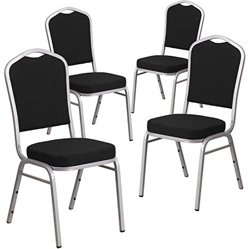 Flash Furniture 4 Pk. HERCULES Series Crown Back Stacking Banquet Chair in Black Fabric - Silver (Back Steel Stacking Chairs)