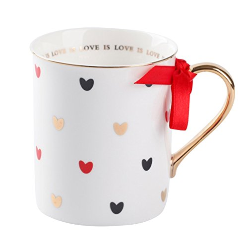 Love is Love Red Coffee Mug with Gold Handle & Hearts Decoration Ceramic Morning Cup Tea Cup 300ml with Gift Box for Friend(Red)