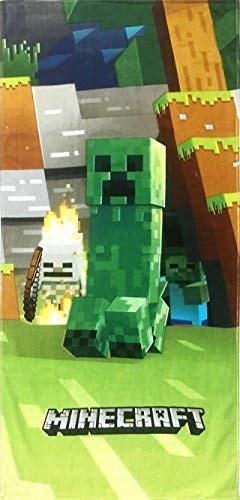 Jay Franco Minecraft Mobs Emerge Super Soft & Absorbent Kids Bath/Pool/Beach Towel, Featuring Creeper - Fade Resistant Cotton Terry Towel, Measures 28 inch x 58 inch (Official Minecraft Product)